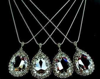 Bridesmaid Jewelry - Bridal Jewlery - Pear Drop Necklace - Crystal Bridal - Wedding Jewelry - Bridal Bling - Swarovski Crystal