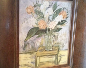 """Vintage Pic """"Garden Flowers"""", Framed, Approx 16"""" x 20"""",  Perfect For Mothers Day"""