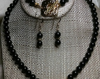 Black Pearls with Gold Hammered Toggle 3-piece set embellished with crystals by Swarovski®