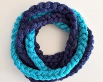 Blue Braided Knit Scarf