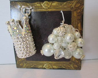 Silver sparkling Crown pendant and pearl bauble pendant