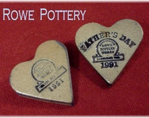 Rowe Pottery ~ RARE Pottery Heart Pins ~ Fathers Day 1991 & 1991 Heart - FREE SHIPPING