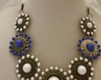 White and Blue Necklace Statement Necklace Handmade Necklace One Of A Kind Necklace SByourself Necklace Bib Necklace Adjustable Necklace