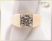 Vintage ~ Diamond Solitaire Wedding Ring ~ 0.25ct Genuine Brilliant Cut H/SI1 Diamond ~ 10K Yellow and White Gold ~ STR17129 ~ GIA ~ 2500.00