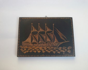 Unique Copper Drawing Wall Decor, Copper ship, Engraving Copper, Etched Copper Art, Hand Carved Copper