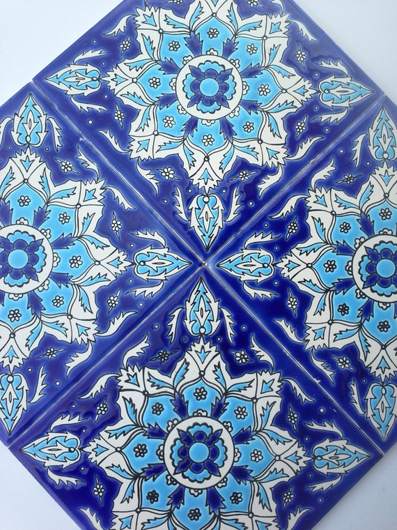tile trivet trivet ceramic decor ocean blue tiles mediterranean tiles