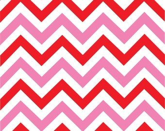 Pink and red chevron craft  vinyl sheet - HTV or Adhesive Vinyl -  medium pink, red and white large zig zag pattern   HTV175