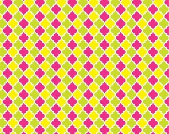 Lime, hot pink and yellow quatrefoil craft  vinyl sheet - HTV or Adhesive Vinyl -  quarterfoil pattern HTV1445