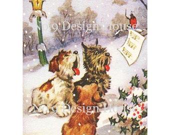 Christmas Printable Digital Vintage Dogs, Printable Christmas Dog Gift Tags, Digital Christmas Cards, Vintage Digital, ATC ACEO, No9