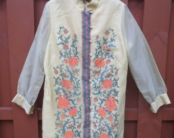 Vintage Alfred Shaheen Dress Jacket Long Sleeve Gown