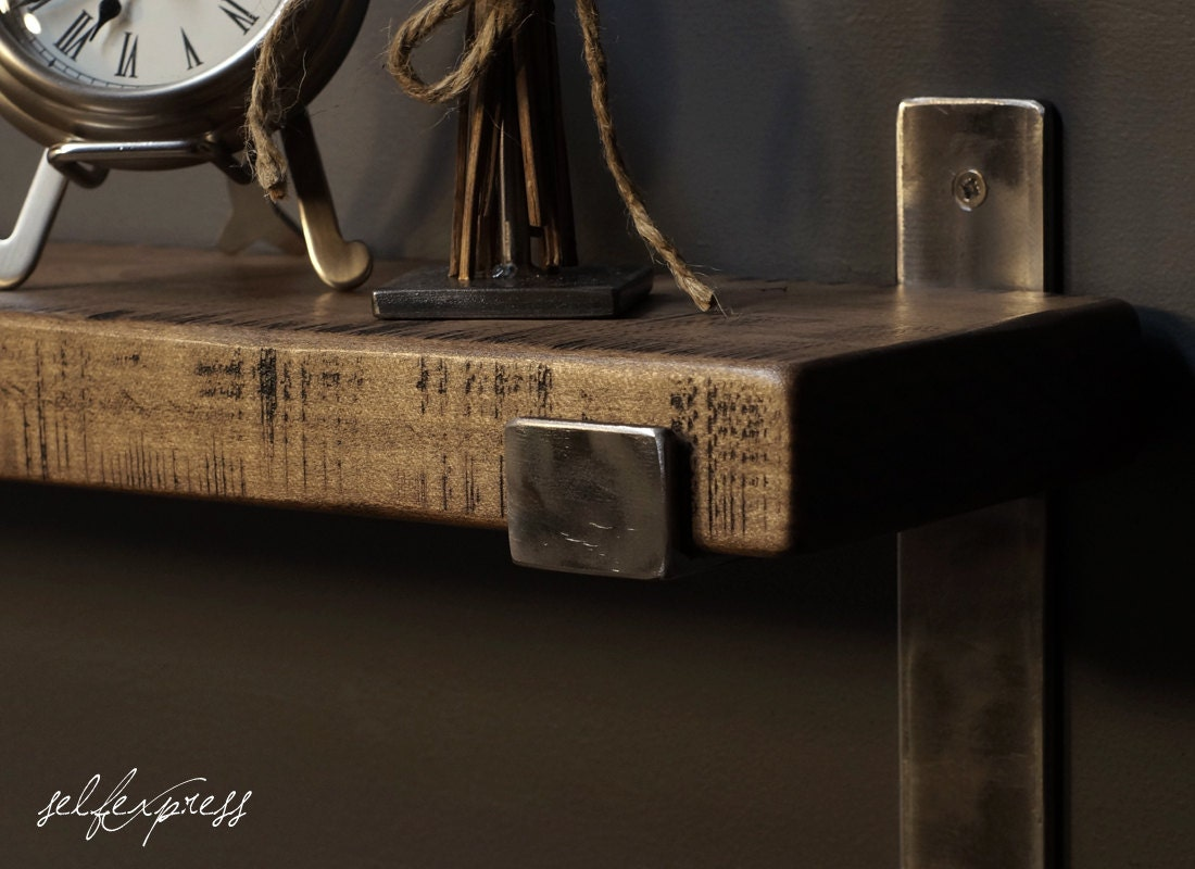 Very Impressive portraiture of Rustic Wood Shelf w Metal Brackets Barnwood Shelf by SELFEXPRESS with #866745 color and 1100x800 pixels