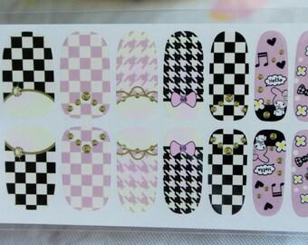 Free Shipping - Lolita nails, checkered nails, houndstooth nails, sanrio nail wrap, nail art design, Diy Nail art Decoration