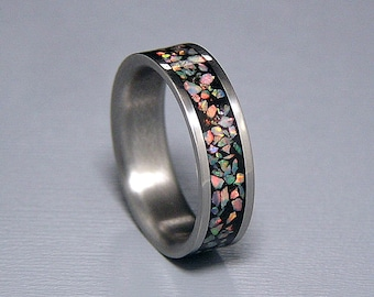 Fire and Snow Lab Opal Inlay Titanium Wedding Band or Ring