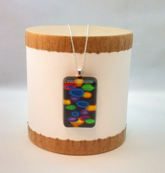 Hand painted resin pendant with multi-colored dots and circles - Multi-layer acrylic painting