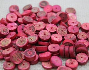 Vintage Light Red Coco Wood Heishi (48 Pieces)