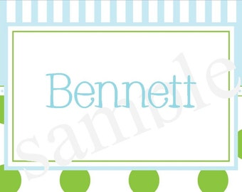 Set of 24 Personalized Boy blue and green Calling cards Stationery Calling Cards
