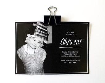 Printable Birthday Party Minimal Chalkboard Photo Invitation