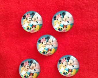 Set of 5 Mickey and Minnie Inspired Cabochons (20mm)