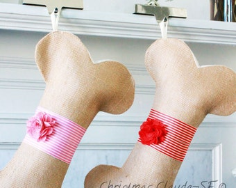 Dog Bone Christmas Stocking, Unique Holiday Gifts, Gifts for Dogs and Cats, Stripes Stocking, Many colors,  Simple and Beautiful!