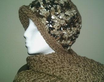 Cafe Latte Brown Starfish Hat with brim. Crochet handmade Womens Girls Accessories