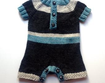 Rugby striped shortie romper, size XS/newborn