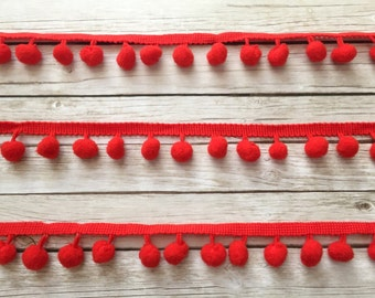 Red Pompom Trim / Pom Pom Trim / Cotton Pompoms / 100cm Pompoms Trim