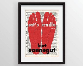 Cat's Cradle by Kurt Vonnegut - Cover Art on Recycled Dictionary Page
