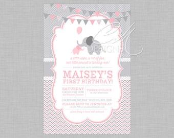 Pink and Grey Elephant Birthday Invitation