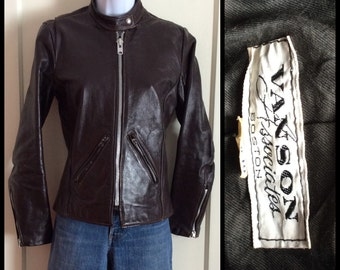 Vintage 1970's Women's Vanson Leather Cafe Racer Motorcycle Jacket size Small