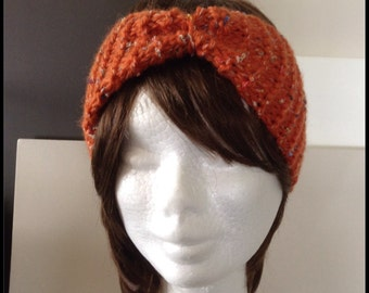 Knitted headband - knit ear warmer - orange tweed head wrap  - keep the wind out of your ears while outdoors - made with textured wool