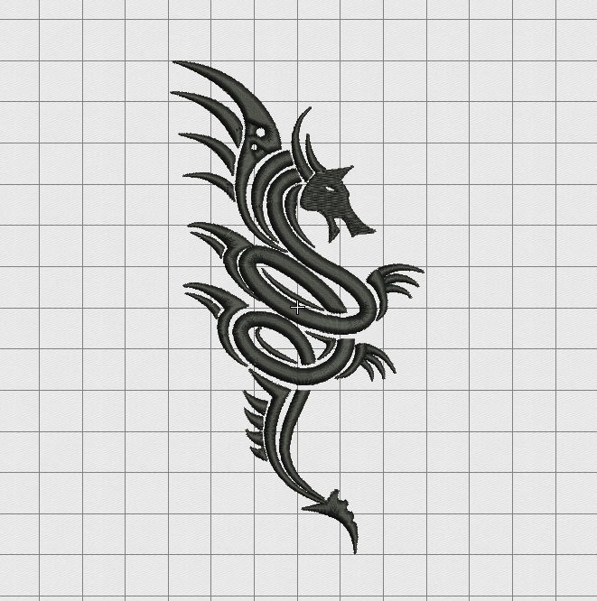Dragon tribal tattoo style embroidery design in 3x3 4x4 5x5 for 3x3 tattoo ideas