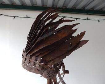 A  Native American Headdress metal art sculpture