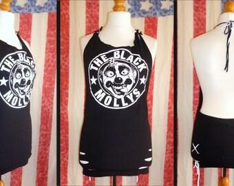 2016 **SALE** : Black Mollys Halter Dress Size M Uk12-14 Customised DIY Band T-shirt Glam Punk Sleaze Rock