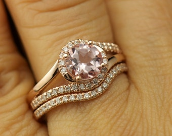 Olivia & Lindsey Beth Set - Morganite and Diamond Engagement Ring and Diamond Wedding Band in Rose Gold, Twisted Shank Halo, Free Shipping