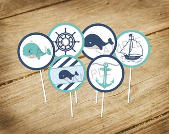 Little Squirt / Whale / Nautical Theme Cupcake Toppers