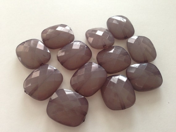 SMOKE Grey Square- 12 beads- 24x20mm Geometric Translucent Faceted Acrylic Flat Nugget Beads