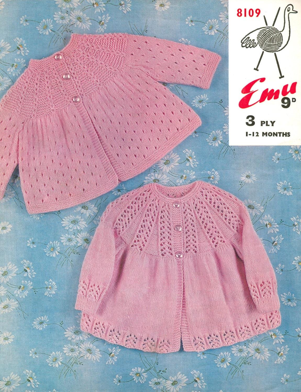 Baby Matinee Coat Knitting Patterns : Baby matinee coat set vintage knitting pattern pdf instant