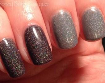 Fade to Black - thermal nail polish - indie nail polish - black thermal nail polish - holographic nail polish - color changing polish
