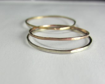 Solid Gold Skinny Rings| Tri Color 14K Recycled Solid Gold| Eco Friendly| Ethical