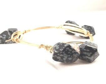 The Roana Bauble || Snowflake Obsidian Nugget Bauble Bracelet