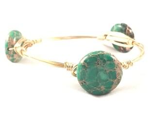 The Hamilton || Green Aqua Terra Jasper Coin Bauble Bracelet