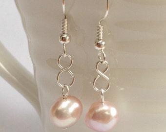 Pink Pearl Silver Infinity Drop Earrings