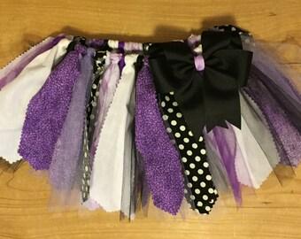 Purple, Black, and White Scrap Fabric Tutu