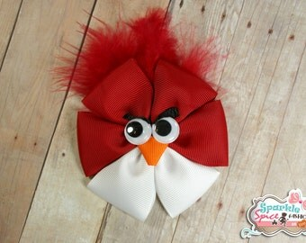 Angry Bird Ribbon Sculpture Hair Clip, Angry Bird Hair Accessory Clip, Red, White, Feathers Hair Accessory