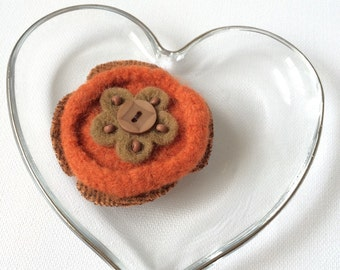 Flower Felt Brooch, Orange and Brown with Beads and Button