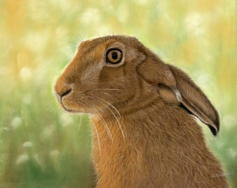 Autumn Glow - Hare print, Hare Art, hares