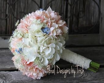 Blush & Cream Hydrangea Wedding Bouquet