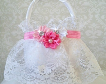 White Lace Flower Girl Baskets, Pink and White Wedding, Pink and White Flower Girl Basket