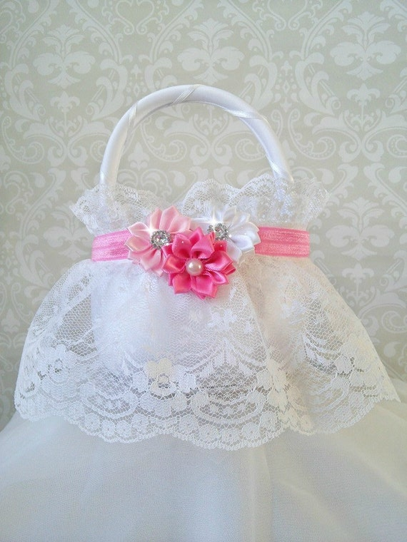 How To Make A Lace Flower Girl Basket : White lace flower girl baskets pink and wedding