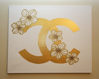Chanel Flowers Gold Painting (20x16) Fashion Inspired Art, Pop Art, Home Decor Art, Gold Painting, Chanel Painting, Rhinestones
